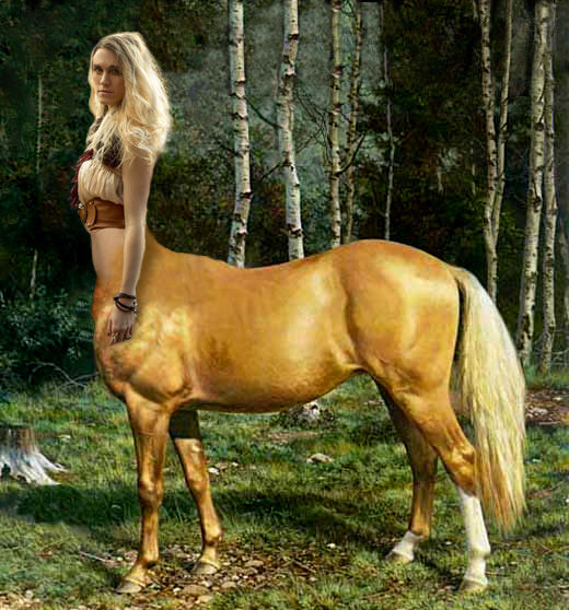A blonde-maned female centaur