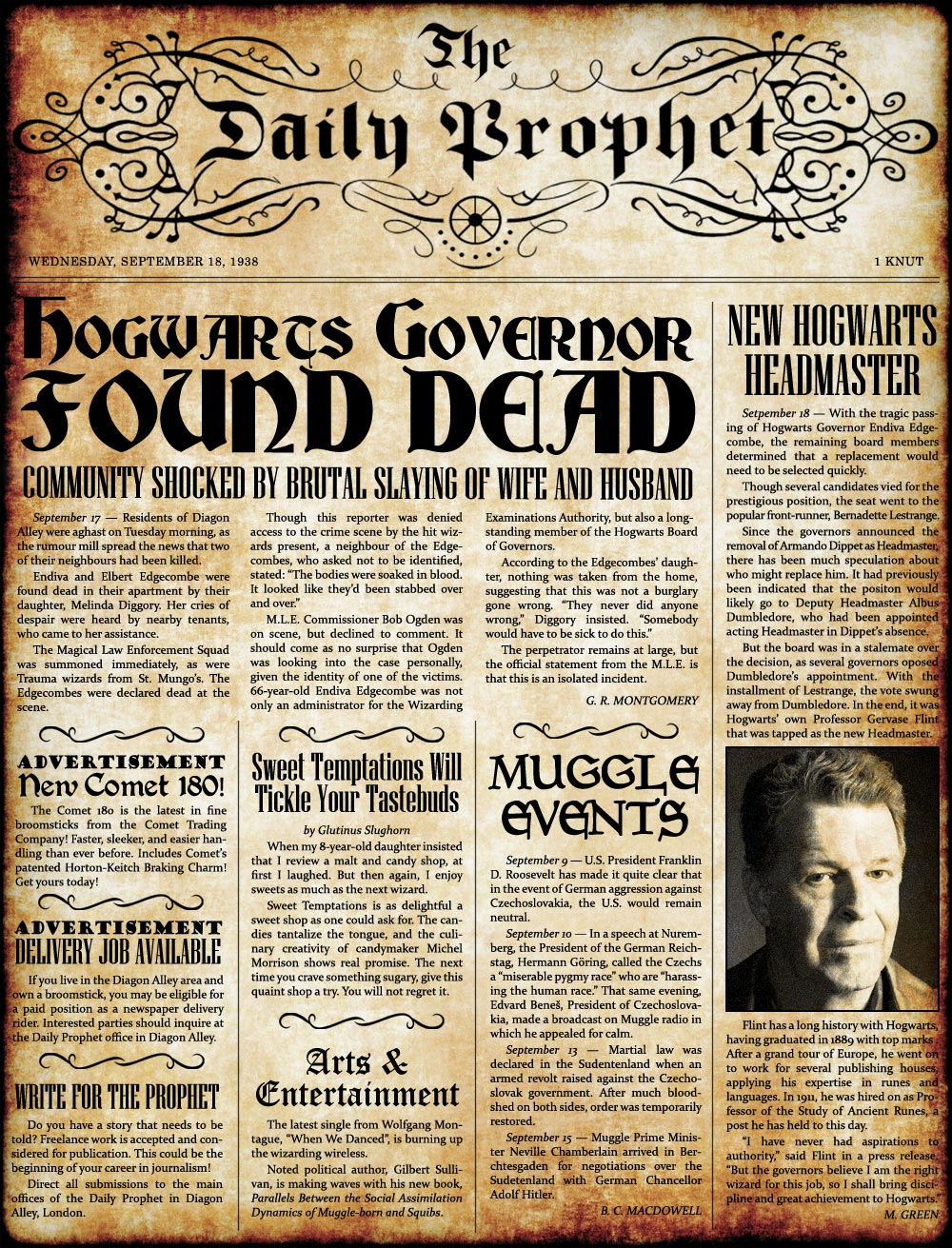 1938 09 18 The Daily Prophet Hogwarts Governor Found Dead