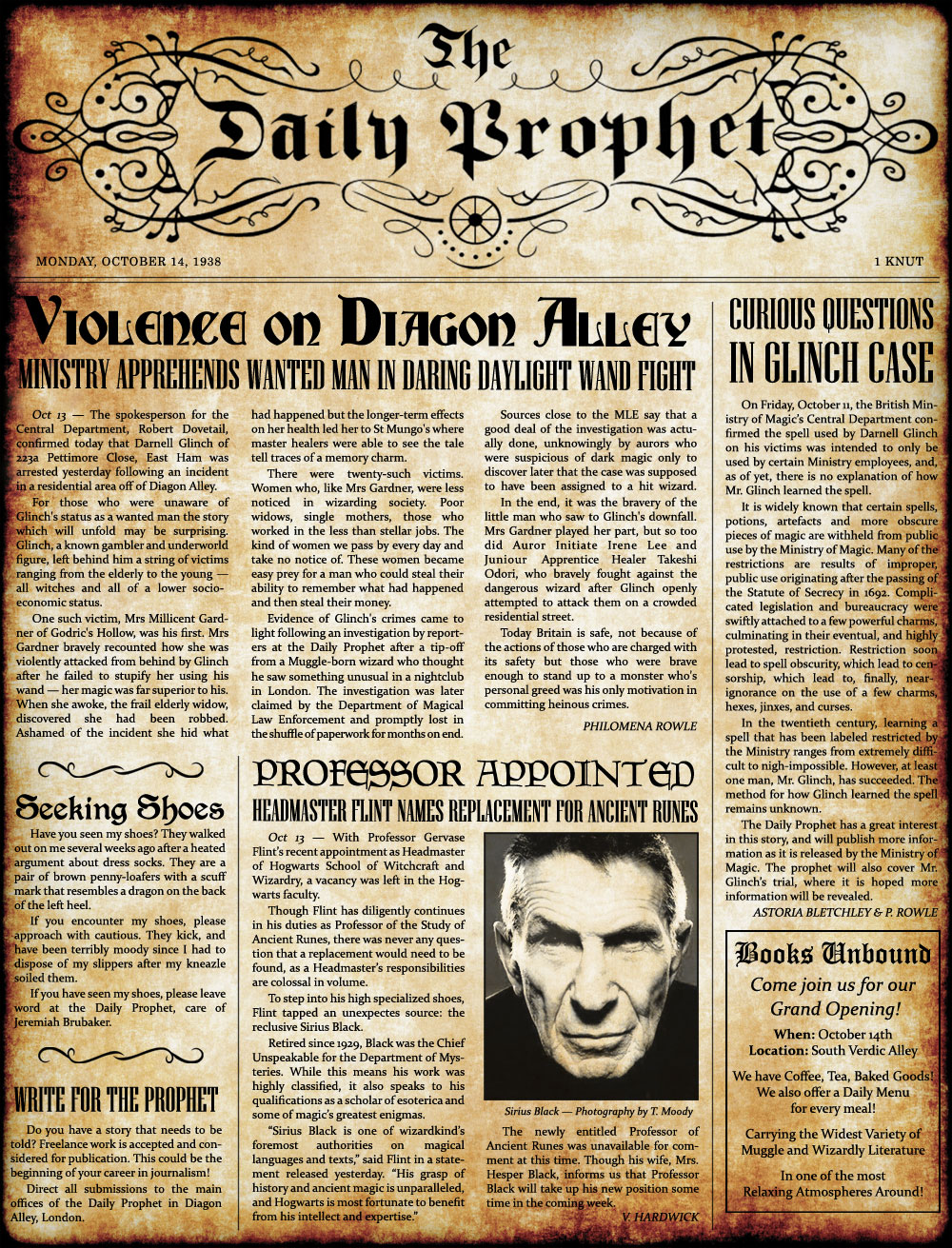 1938-10-14) The Daily Prophet - Violence on Diagon Alley ...